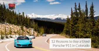 "Photo of a bright blue Porsche 911 on a mountain road in Colorado. Used to illustrate the article, ""12 Reasons to Buy a Used Porsche 911 in Colorado."""