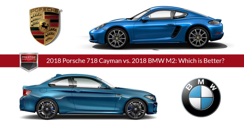 Photo illustration of a 2018 Porsche 718 Cayman and 2018 BMW M2