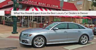 "Photo of an Audi A6 in front of Bonnie Brae Ice Cream in Denver, CO. Used to illustrate the article ""What You Should Expect from the Best Luxury Car Dealers in Denver""."