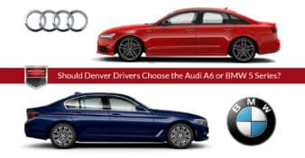 "Side view photos of the Audi A6 and BMW 5 Series sedans. Used to illustrate the article, ""Decisions, Decisions - Should Denver Drivers Choose the Audi A6 or BMW 5 Series?"""