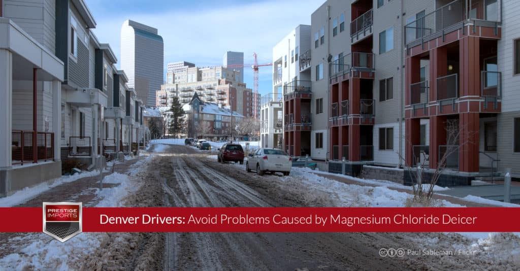 "Photo of a slushy Denver street. Used to illustrate the article, ""Denver Drivers - Avoid Problems Caused by Magnesium Chloride Deicer""."