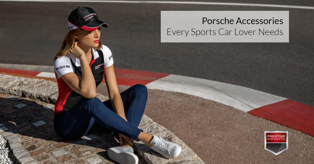 "Photo of a woman wearing Porsche Driver's Selection gear at a racetrack. Used to illustrate the article, ""Porsche Accessories Every Sports Car Lover Needs""."