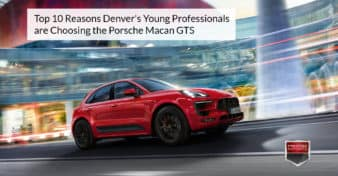"Photo of the Porsche Macan GTS on a city street. Used to illustrate the article, ""Top 10 Reasons Denver's Young Professionals are Choosing the Porsche Macan GTS""."