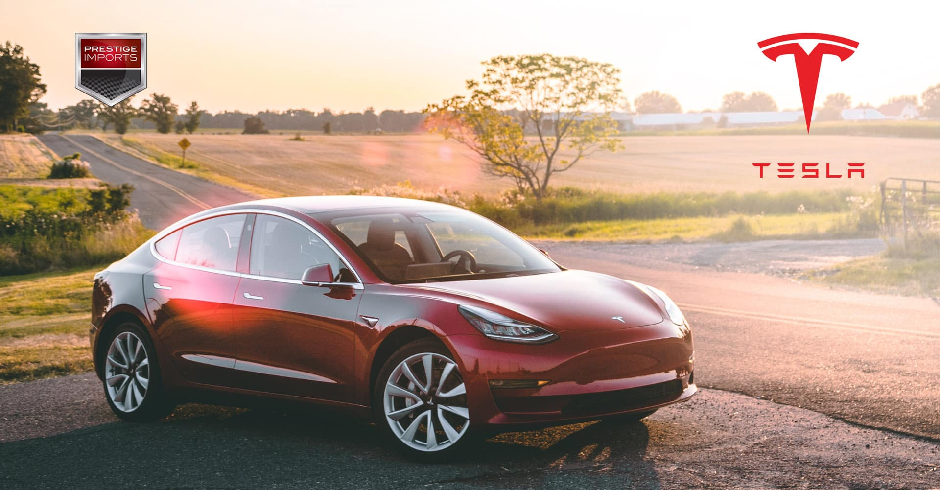 "Photo of a Tesla Model 3 on a country road. Used to illustrate the article, ""Approved Tesla Body Shop in Denver, CO""."