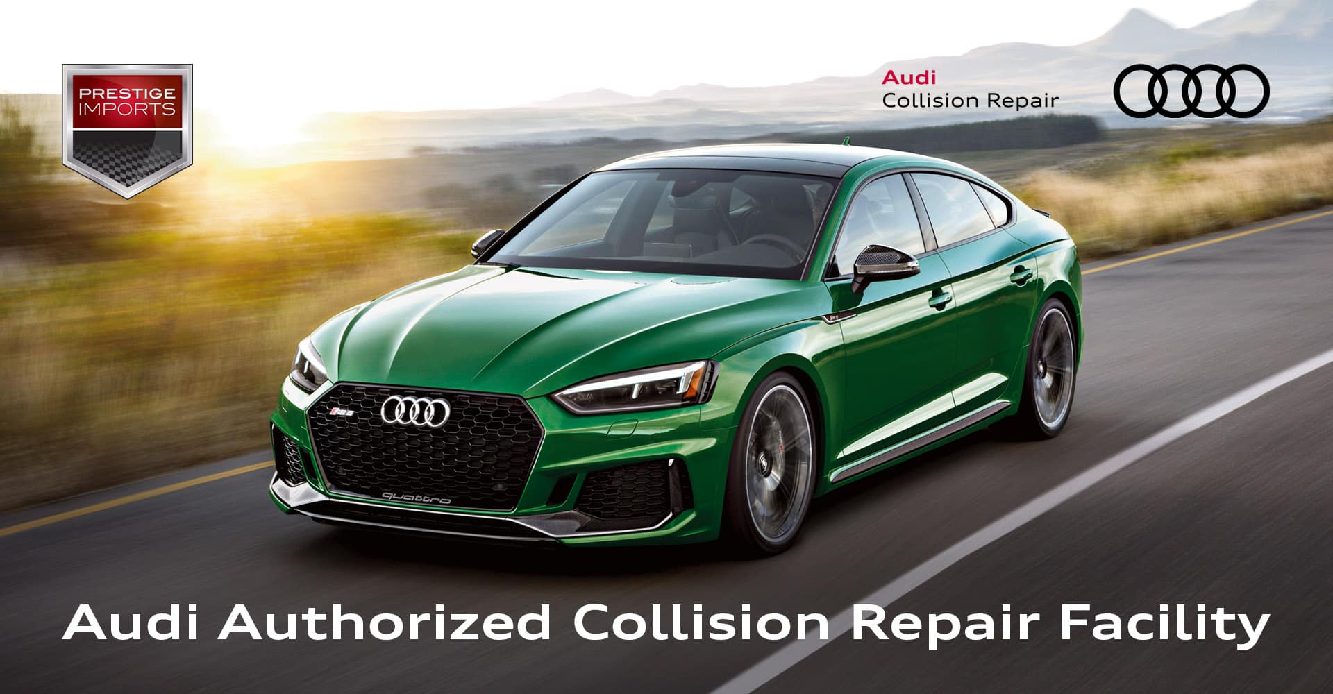 """Sonoma Green Metallic Audi RS 5 Sportback driving on a mountain road at sunset. Used to illustrate the article, """"Authorized Audi Body Shop in Denver, CO""""."""