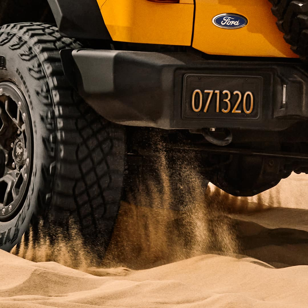 bronco in sand with license