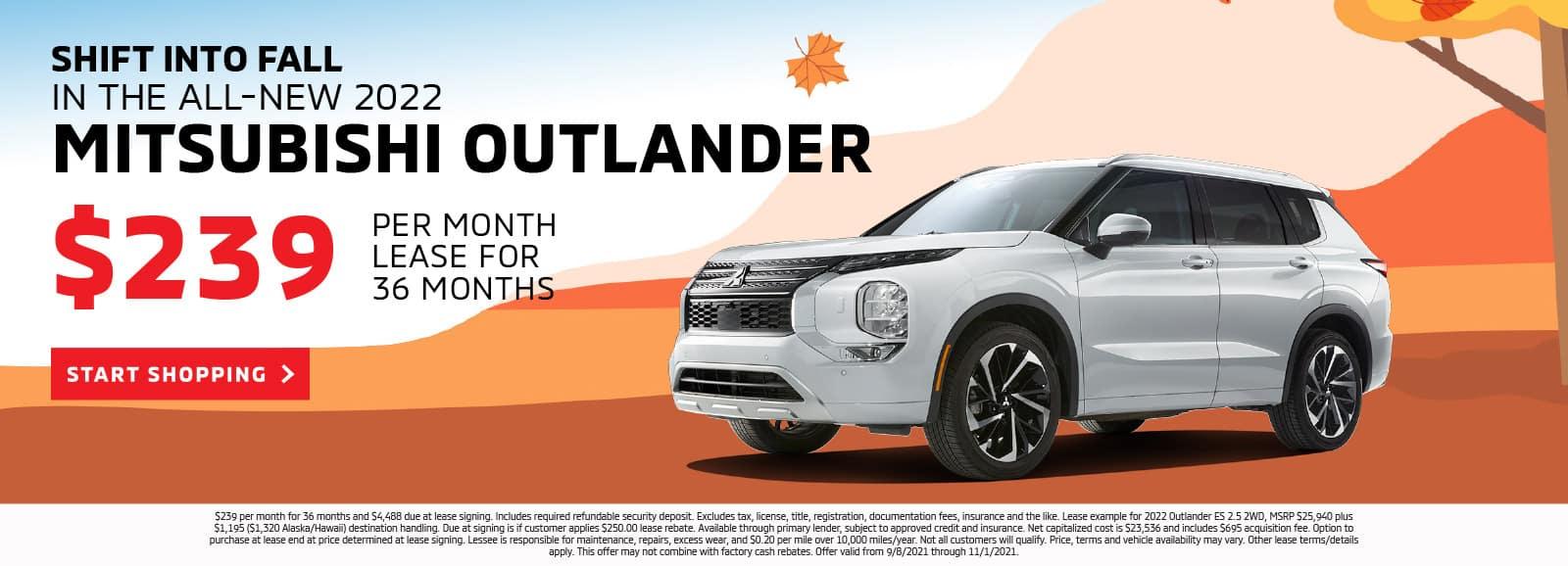 2021 Shift Into Fall – Outlander Front Left 3_4 Website Banners Outlander Dealer Inspire