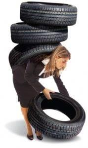 Woman with Tires