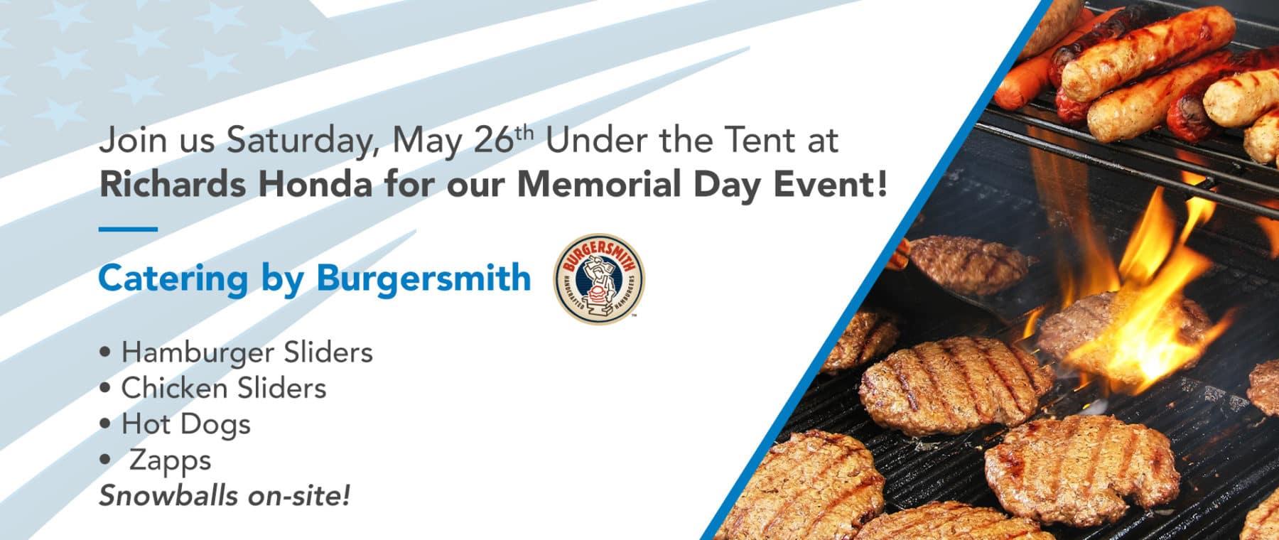 Memorial Day Event May 26th at Richards Honda