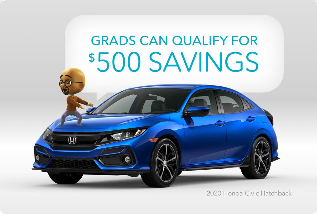 Cartoon sitting on 2020 Honda Civic