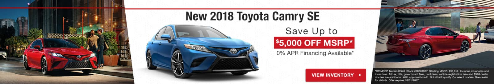 Save up to $5,000 off a new 2018 Toyota Camry, with 0% APR available in Rocky Mount NC