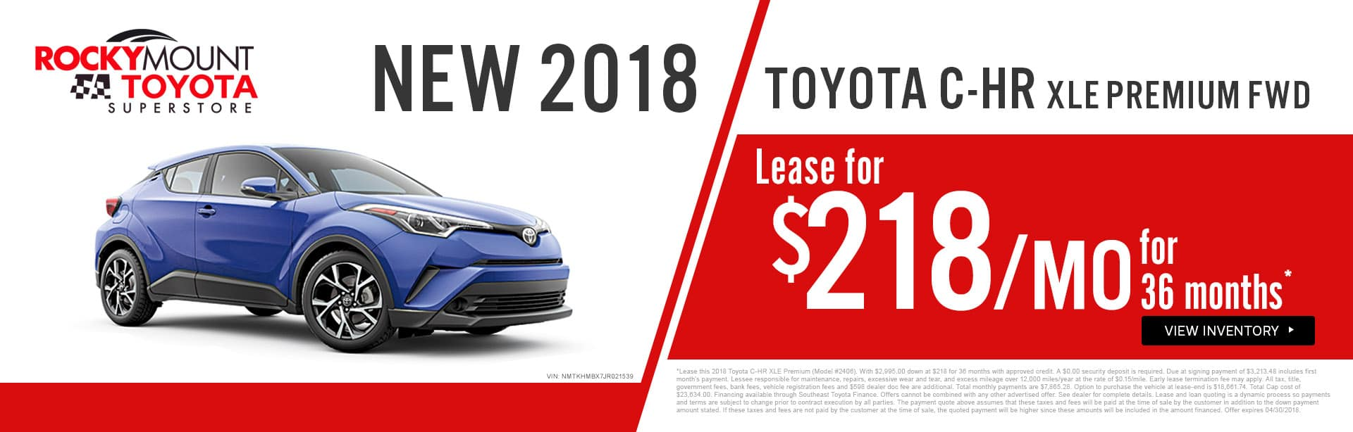 Drive home a 2018 Toyota C-HR XLE Premium for just $218 a month in Rocky Mount NC