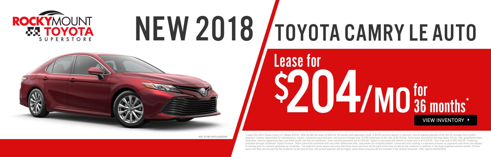 Drive home a 2018 Toyota Camry LE for just $204 a month in Rocky Mount NC