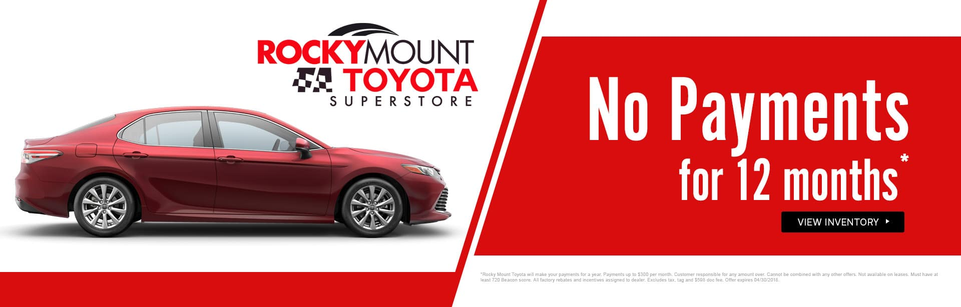 Make no payments for 12 months here at Rocky Mount Toyota in Rocky Mount NC