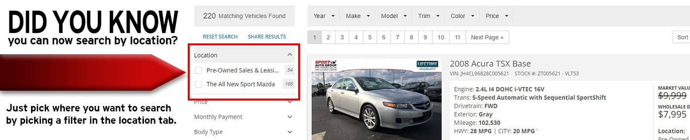 Search by location on used cars at Sport Mazda Orlando, FL.