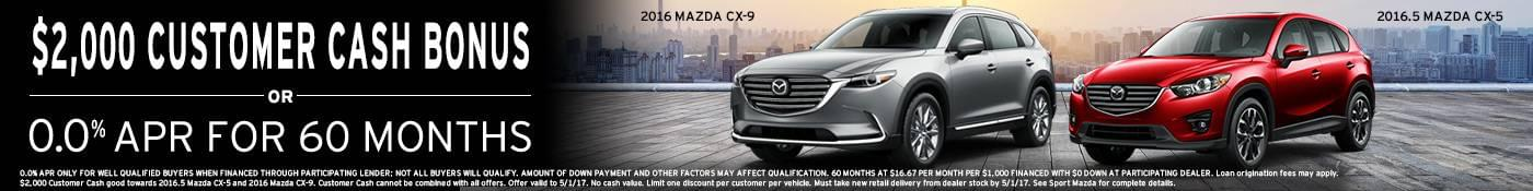 2016 Mazda CX-9 and 2016.5 Mazda CX-5 get $2,000 customer cash at Sport Mazda in Orlando, FL