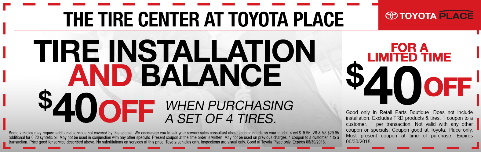 Tire Installation and Balance Special