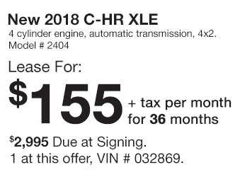 Toyota C-HR Lease Offer