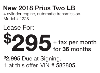 Toyota Prius Lease Offer