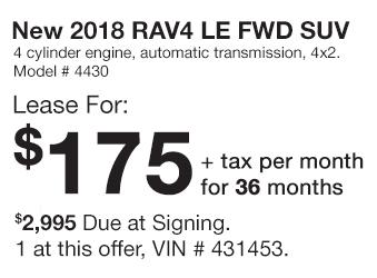 Toyota RAV4 Lease Offer