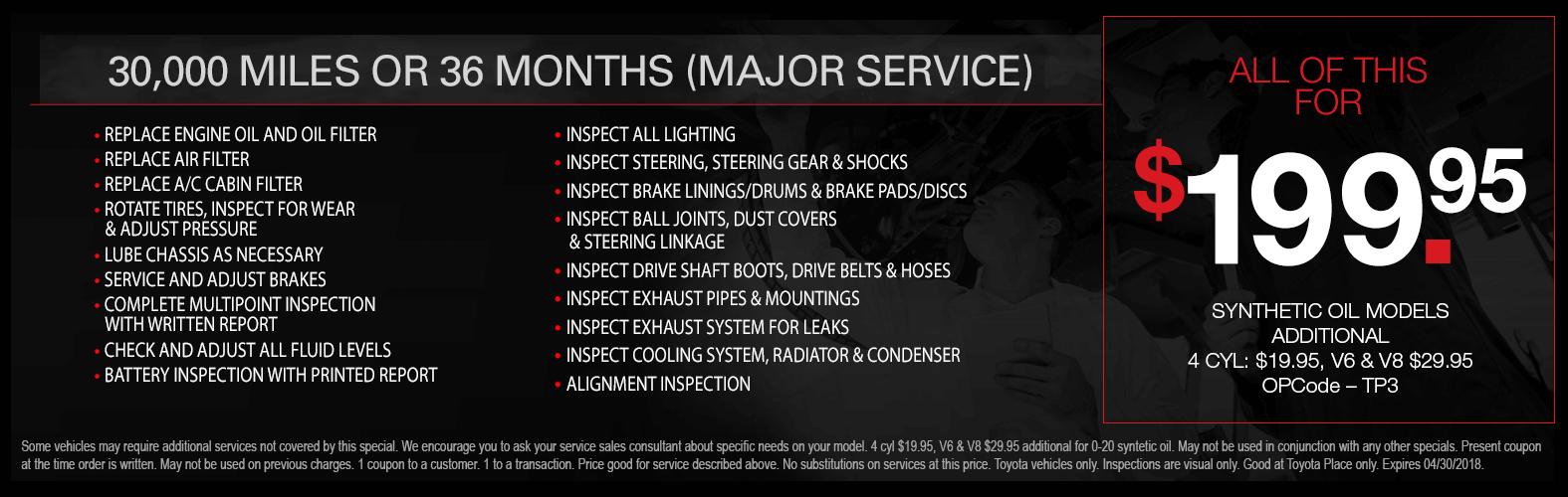 Toyota Major Service Special