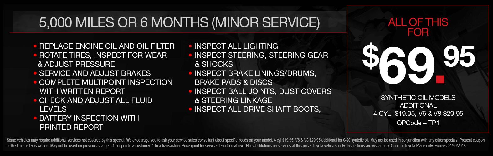 Toyota Minor Service Special