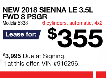 Toyota Sienna Lease Offer June 2018