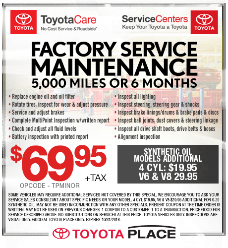 Factory Service Maintenance 5,000 Miles or 6 Months $69.95 + tax