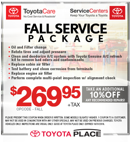 Fall Service Package Special $269.95 + tax