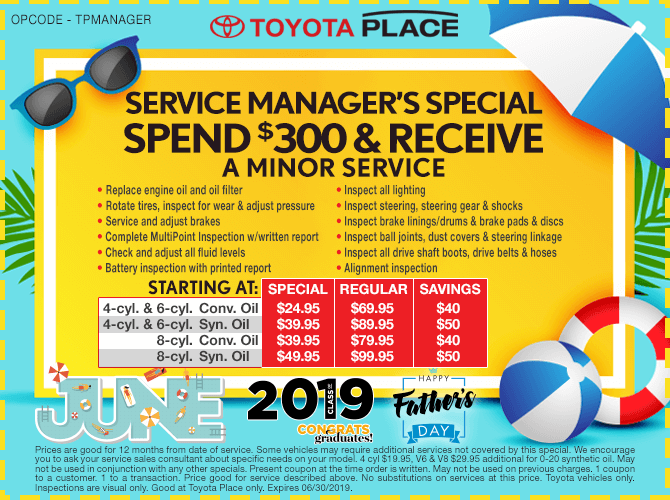 Service Manager Special Minor Service Starting at $24.95 + tax