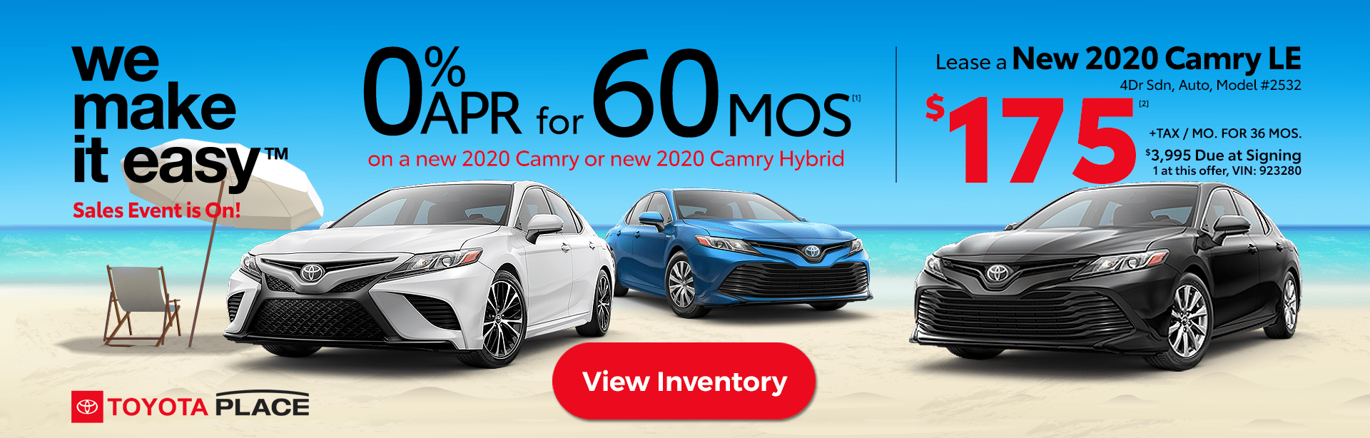 We Make it Easy Sales Event Camry and Camry Hybrid Deals Lease
