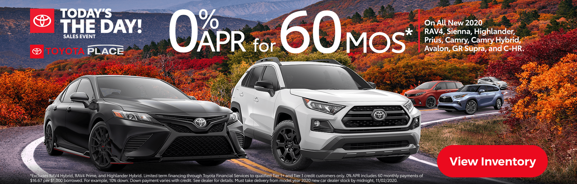 Toyota Special Deals, APR Finance, Lease, October 2020