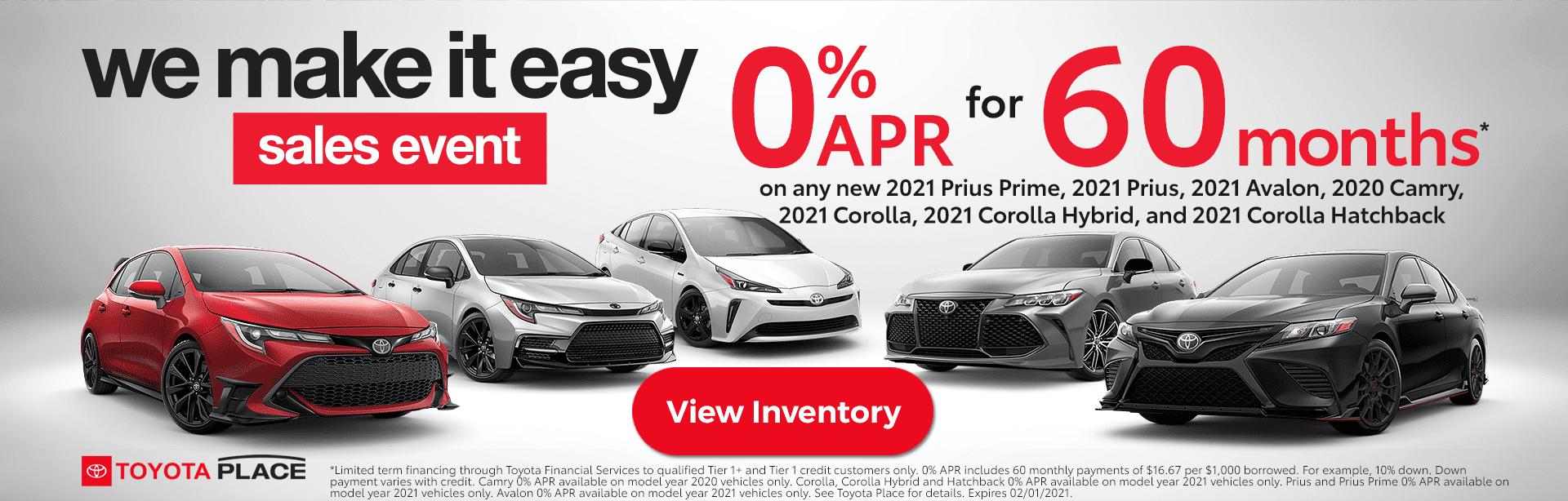 We Make it Easy Toyota Sales Event Orange County - Zero Percent APR