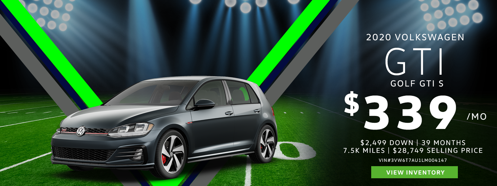 Lease a 2020 Golf GTI S for $339/mo.
