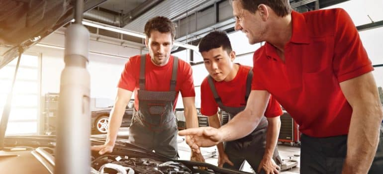 Mechanics in the service department