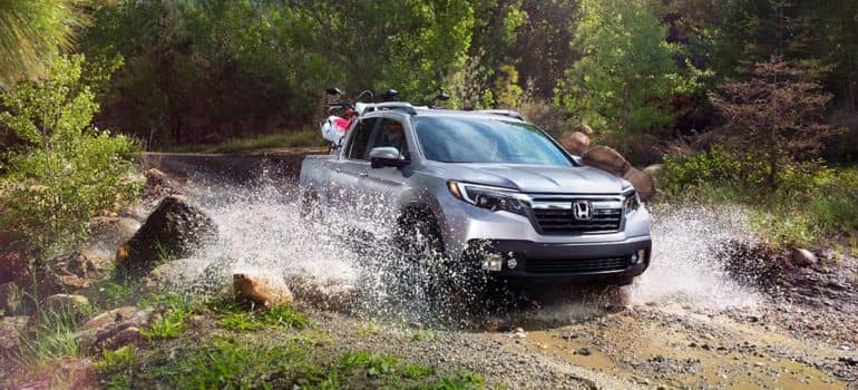2019 Honda Ridgeline crossing a river
