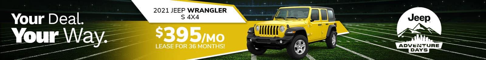 Best 2021 Jeep Wrangler lease deal near Plainfield IN